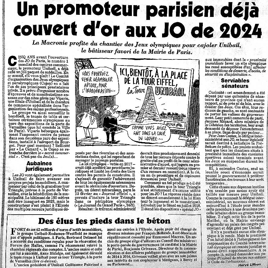 Article du Canard Enchaine du 6 mars 2019